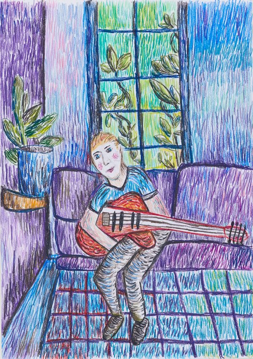 """Winner Harvey Heazlewood age 9Purple Hazecolour pencil  Me playing """"Purple Haze"""" by Jimi Hendrix on my electric guitar in the playroom. Inspired by John Russell"""