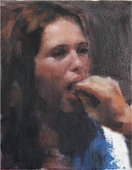 Highly commended  Jordan Richardson (b1993, NSW)Dane holding Emily's tongue 2015 oil on canvas, 25.5 × 20.5 cmCollection of the artist