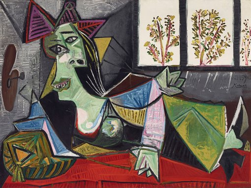 'anxious glances and twisted fingers became, in Picasso's portraits, a seismographic record of the dark times when the Spanish Civil War raged and the Nazis were on the march…' – Anne Baldassari     Pablo PicassoFemme allongée sur un canapé (Dora Maar) 1939oil on canvas, 97.1 × 130.2 cm, The Lewis Collection© Pablo Picasso/Succession Pablo Picasso