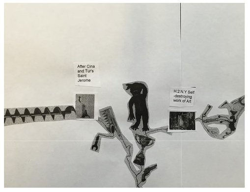 One of the A4 sheets Michael Landy sent through with his collage concept.