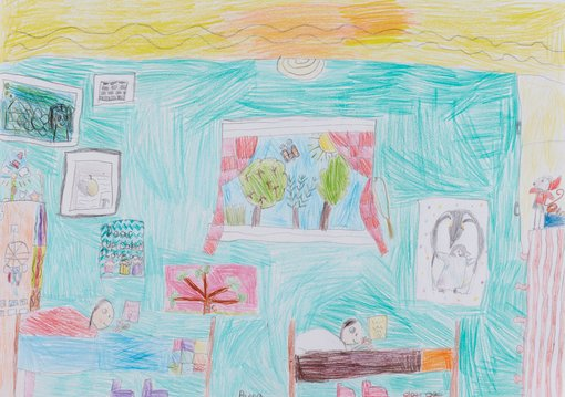 WinnerPeppa Watson age 8  The most colourful room in the housecolour pencil  This is a picture of Olive, my sister, and me in our bedroom, In our bedroom there are lots of toys and books and artworks. I chose our bedroom because it's very colourful to draw. I'm reading a book in bed and so is my sister. We like to do that.