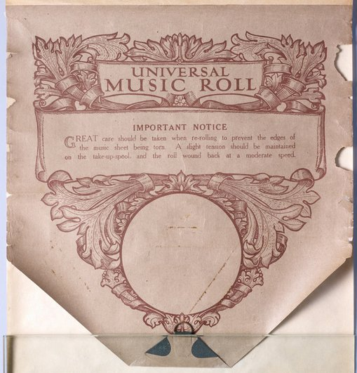Colour music is painted on an unpunched Universal-brand piano roll, which de Maistre probably bought when he moved to London in the early 1930s. As paper production was impacted by the First World War and the Depression, paper of this period is usually poor quality and prone to discolouration.